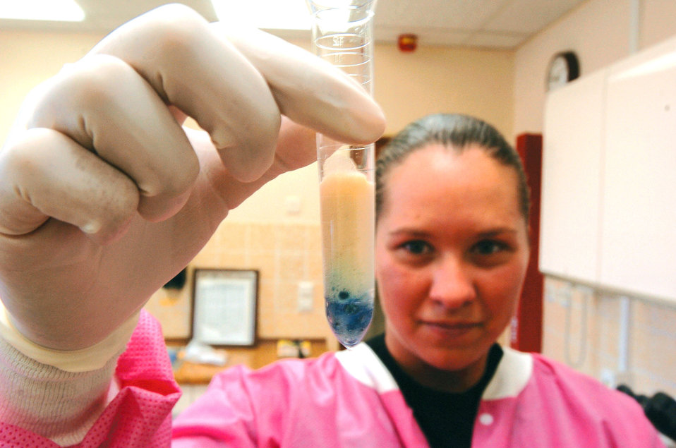 SPANGDAHLEM AIR BASE, Germany (AFPN) -- Senior Airman Jennifer Attridge performs a back-up test for glucose in urine at the laboratory here. During urinalysis, lab technicians can check for red and white blood cells, bacteria as well as assist in the diagnosis of potential illnesses. Airman Attridge is assigned to the 52nd Medical Support Squadron.
