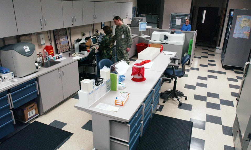 Laboratory technicians assigned to the 354th Medical Group at Eielson Air Force Base, Alaska collect, process, analyze and test specimens for diagnostic clinical testing in chemistry, urinalysis, hematology, microbiology and serology.